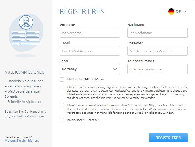 Registrieren Sie sich auf der 24newstrade Handelsplattform