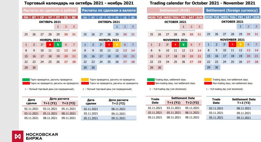 Календарь Московской биржи 2021