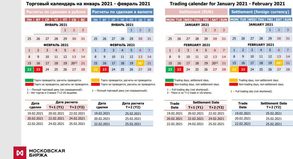 Календарь Московской биржи 2021 год